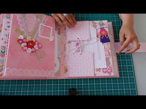 Baby girl photo album - 200 photos-  and baby diary set