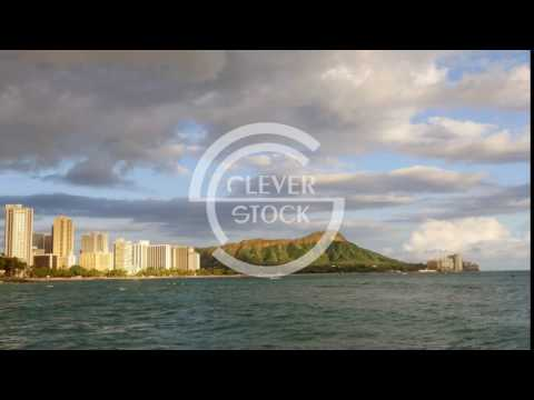 Mountain Buildings Sea Coastline Footage Travel Honolulu Waikiki Beach Skyline Vacation Tourism