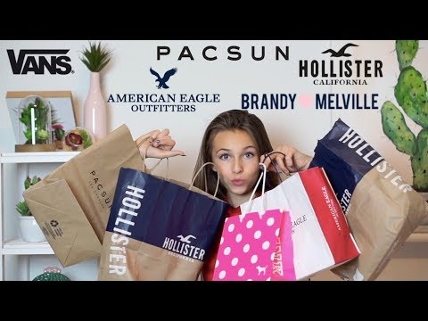back to school clothing haul (Brandy Melville, Vans, American Eagle, Pacsun, Forever 21, PINK, Arie)