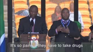 nelson mandela sign language interpreter subtitled
