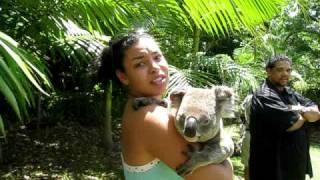 Jordin Sparks holding koala in Australia