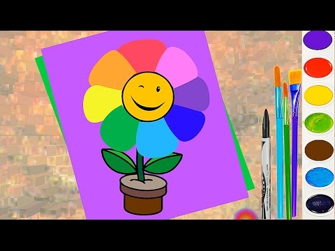 how-to-draw-rainbow-flower-for-kids.-coloring-page.-learn-color-and-paint-for-children