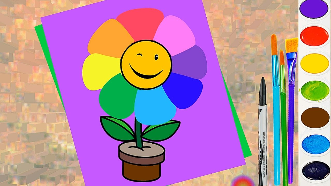 How to Draw Rainbow Flower for Kids Coloring Page Learn Color