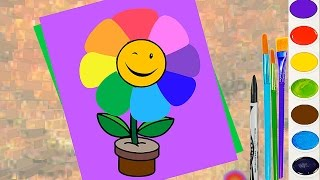 How to Draw for Kids Cute Rainbow Flower. Coloring Page to Learn to Color and Paint for Children