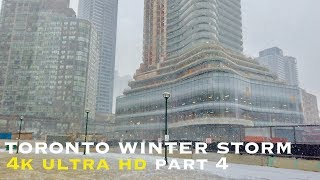 Winter storm downtown toronto part 4 (walking tour 4k)
