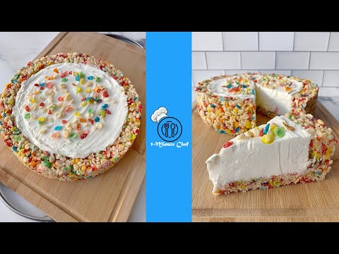 Fruity PebblesRice Krispies treat CRUST no-bake cheesecake | 1-Minute Chef Easy recipes