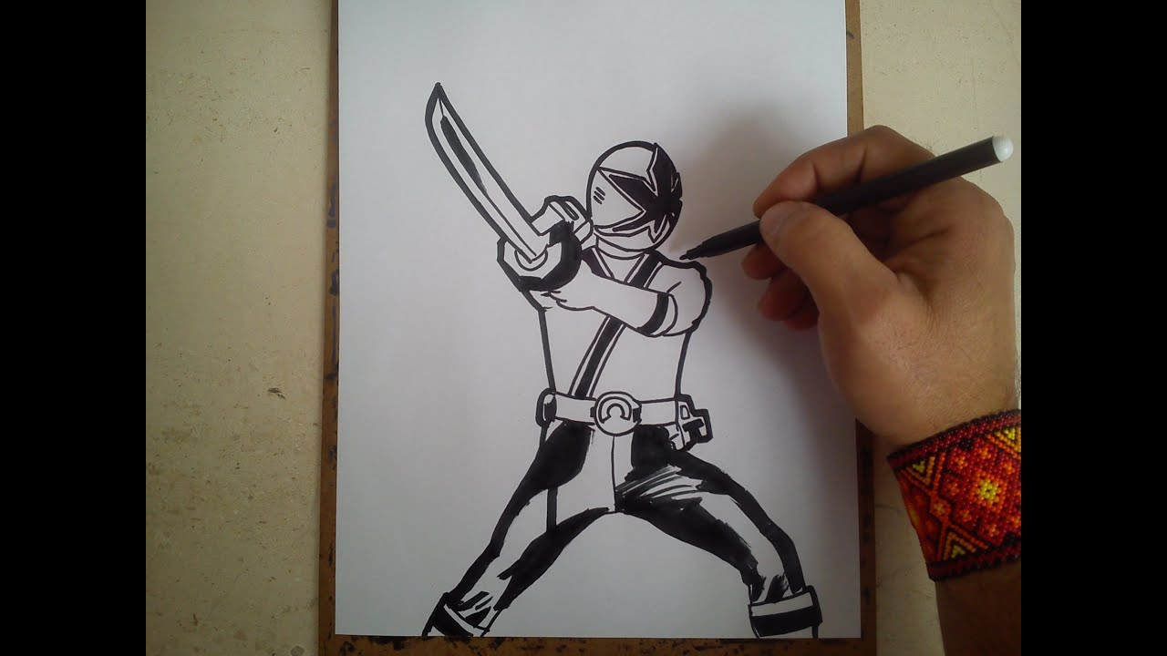 COMO DIBUJAR POWER RANGER SAMURAI AZUL / how to draw power ranger ...