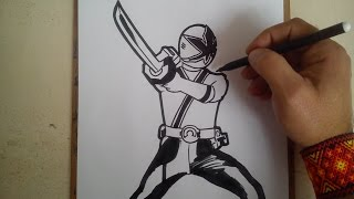 COMO DIBUJAR POWER RANGER SAMURAI AZUL / how to draw power ranger samurai blue