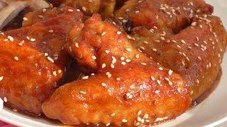 Крылышки в сладко  остром соусе. Wings in a sweetly spicy sauce.