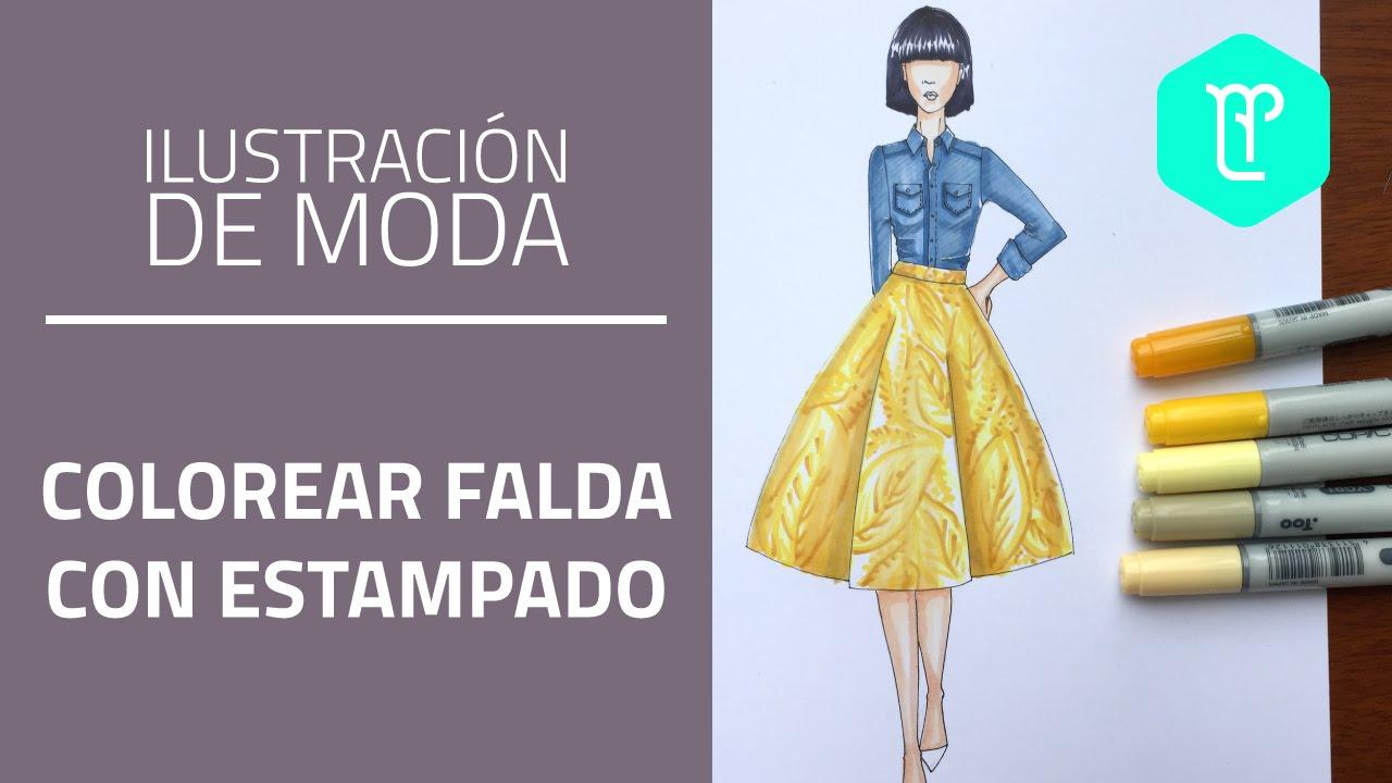 Cómo colorear una falda con estampado en figurines de moda - YouTube
