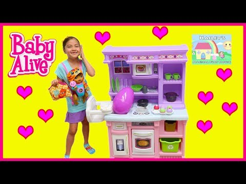 Big Baby Alive Playing on Playground | Giant Step2 Little Kitchen & Disney Frozen Egg Surprise Toys