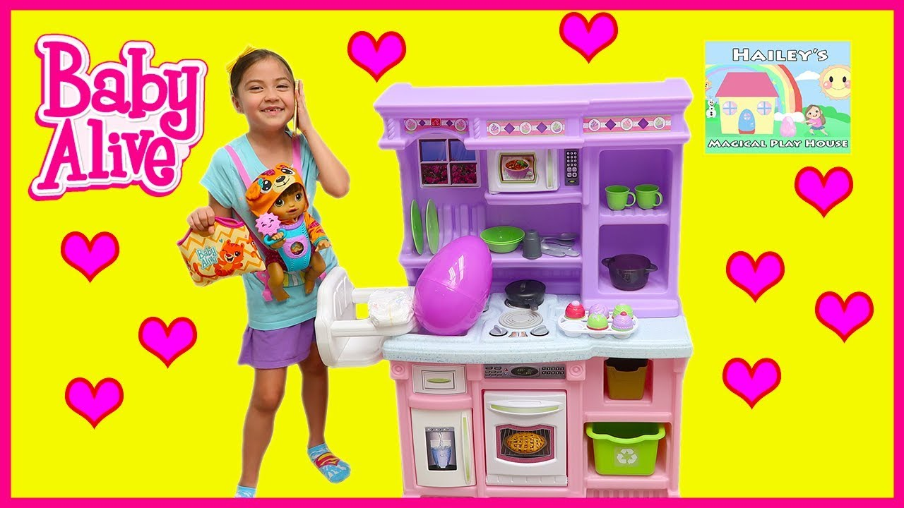 Big BABY ALIVE Playing On Playground Giant Step2 Little Kitchen Disney  Frozen Egg Surprise Toys