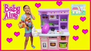 Video Big BABY ALIVE Playing on Playground Giant Step2 Little Kitchen Disney Frozen Egg Surprise Toys download MP3, 3GP, MP4, WEBM, AVI, FLV November 2017