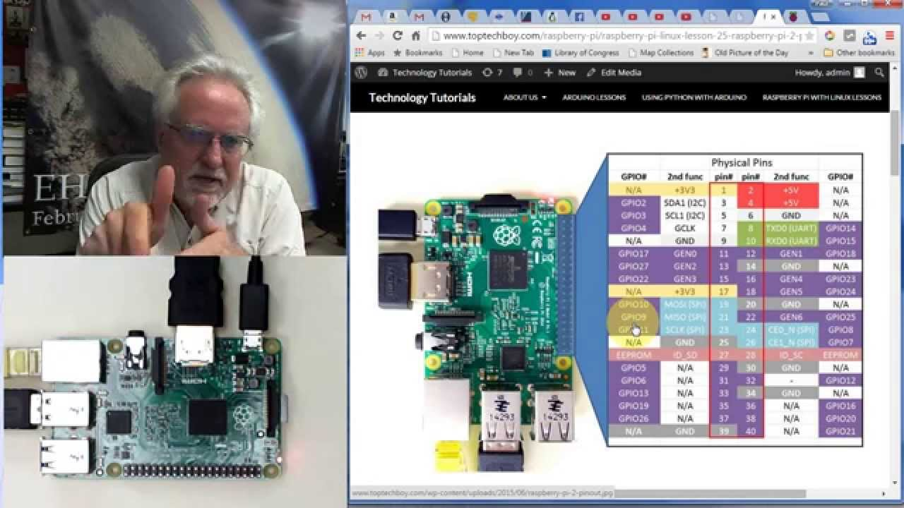 Raspberry Pi Linux Lesson 25 Gpio Pinout For The Raspberry Pi 2