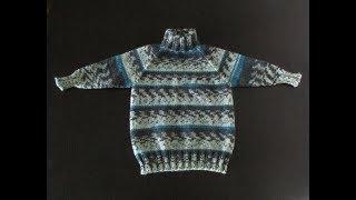 Детский свитер реглан с ростком спицами. Часть 1