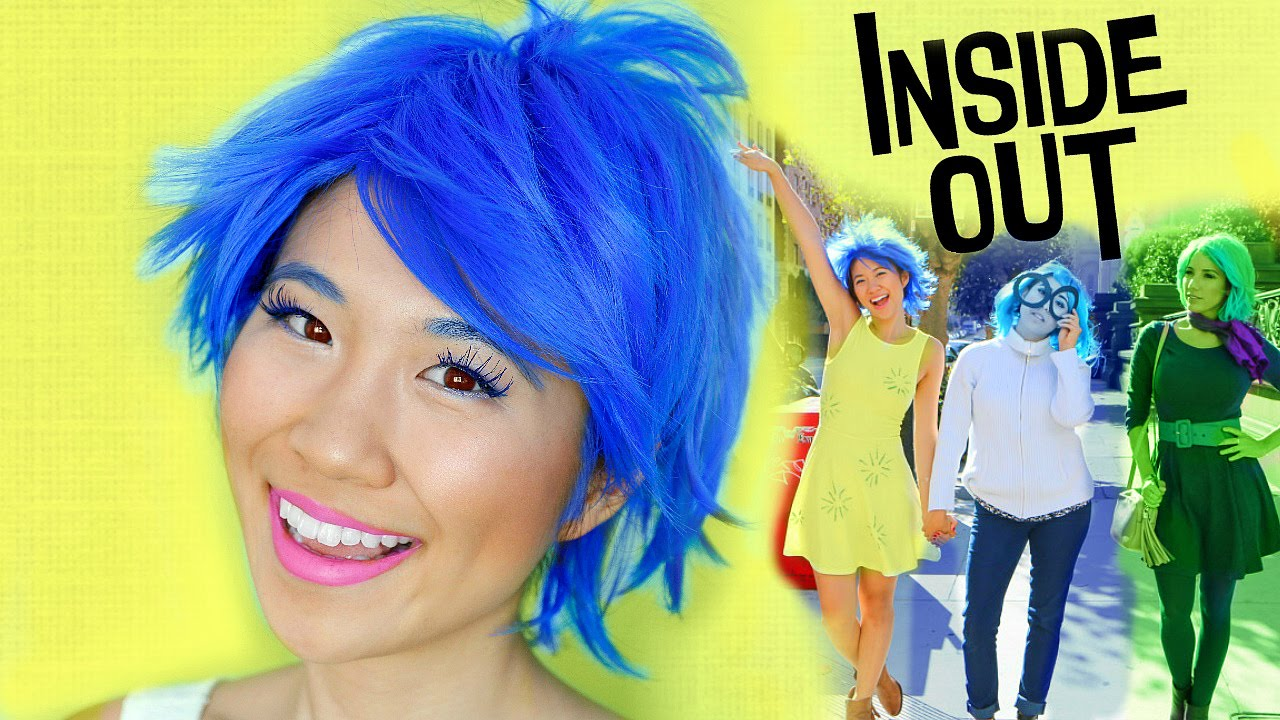 Diy Inside Out Joy Sadness Disgust Costumes Makeup Tutorial Youtube