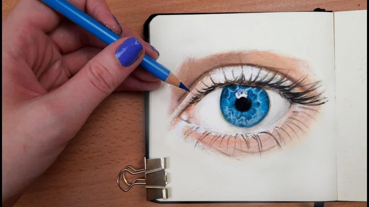 Download Wie zeichnet man ein Auge (Blau) mit Buntstiften?    Einfach zeichnen lernen #24