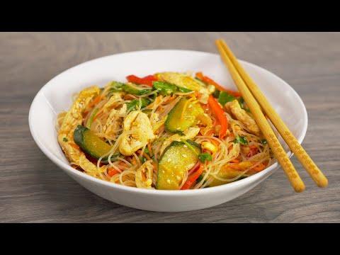Это блюдо захочется повторить! Фунчоза с курицей и овощами по-корейски. Рецепт от Всегда Вкусно!