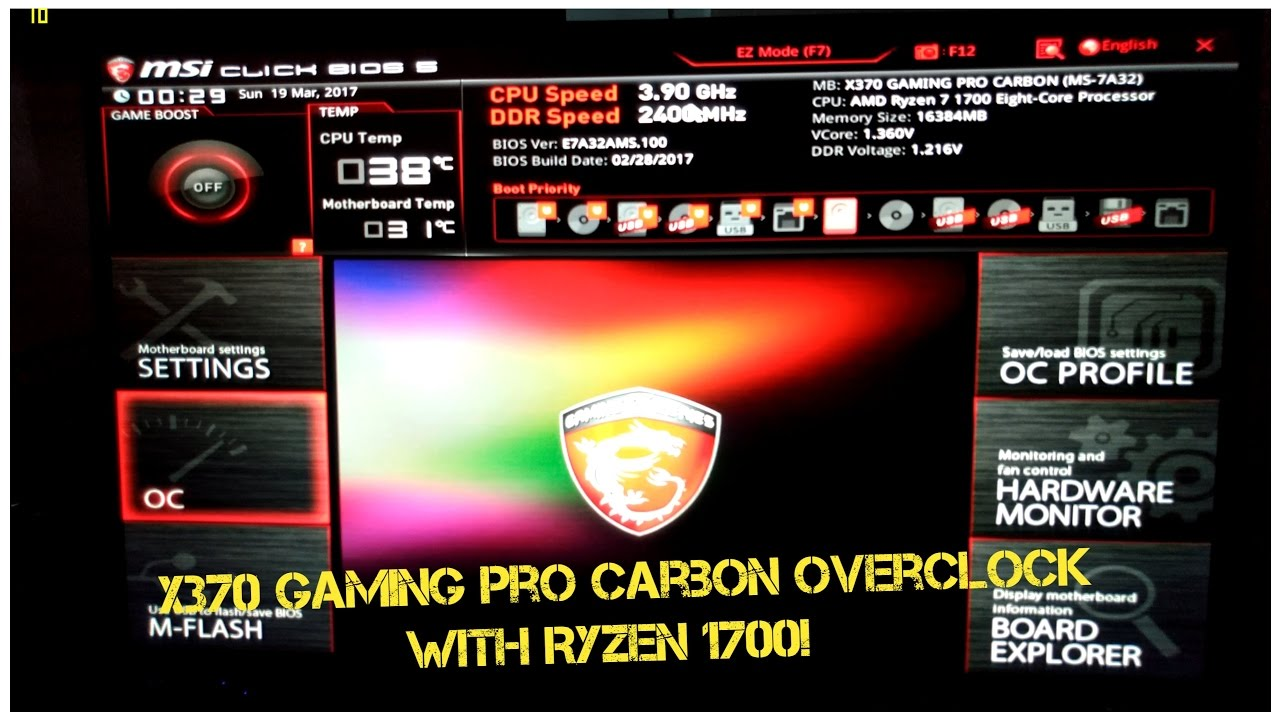 Ryzen 1700 and MSI X370 Gaming Pro Carbon Basic Overclocking, Cinebench R15  and BIOS Guide!