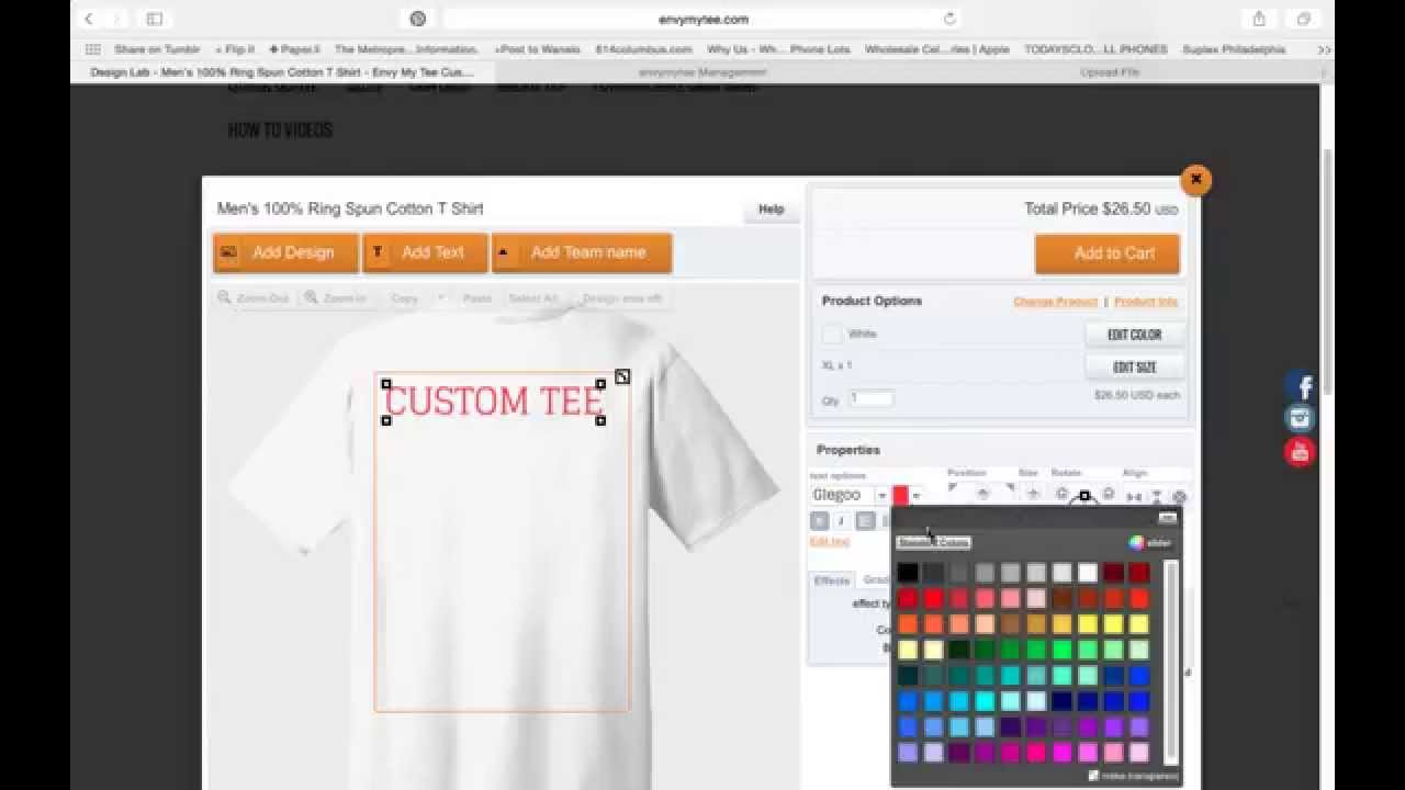 How T Make A Custom T Shirt Online Youtube