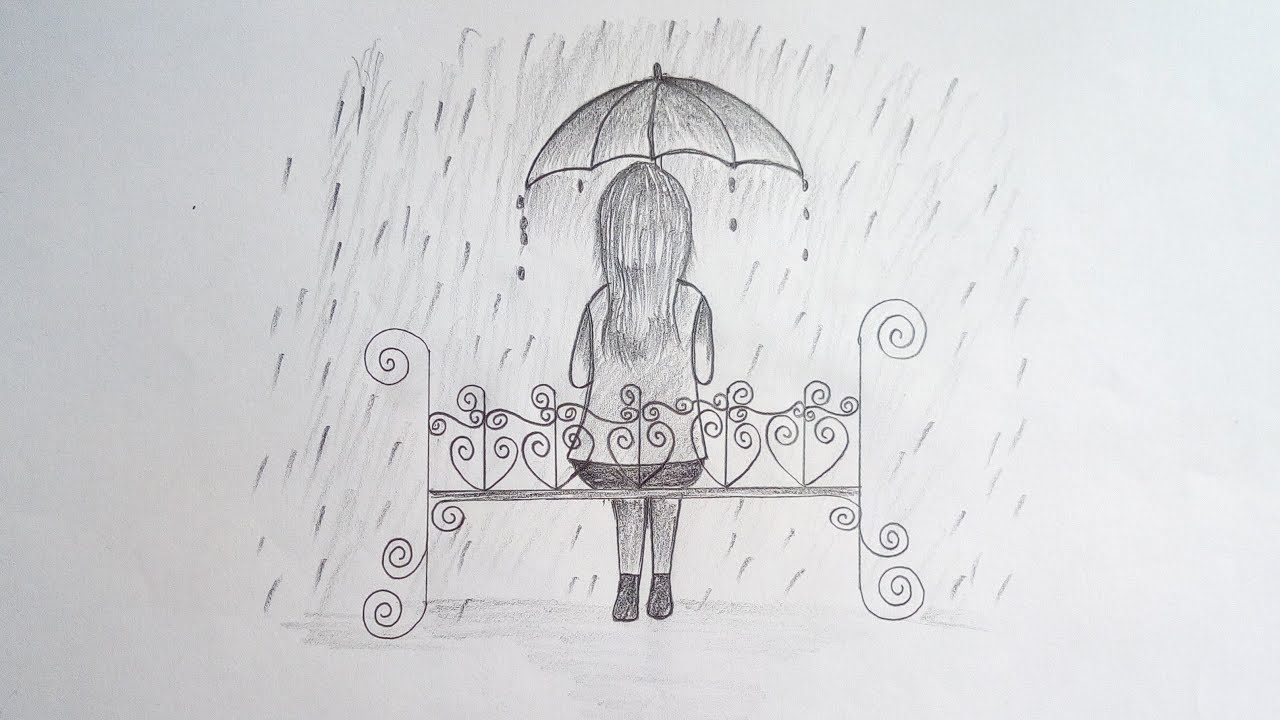 How to draw a girl sitting alone with umbrella easy pencil sketch drawing