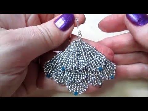 DIY Beaded Fan Earrings Tutorial Lady Green Eyes Jewelry