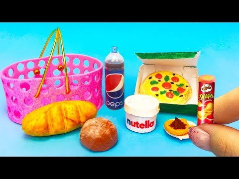 DIY miniature Barbie Hacks and Crafts ~ mini food, nutella, pizza, pringles