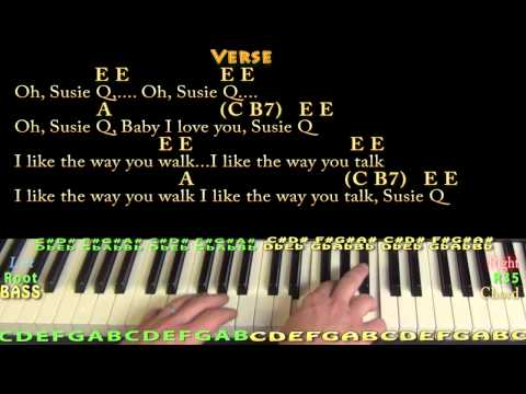 Suzie Q (CCR) Piano Cover Lesson with Chords/Lyrics