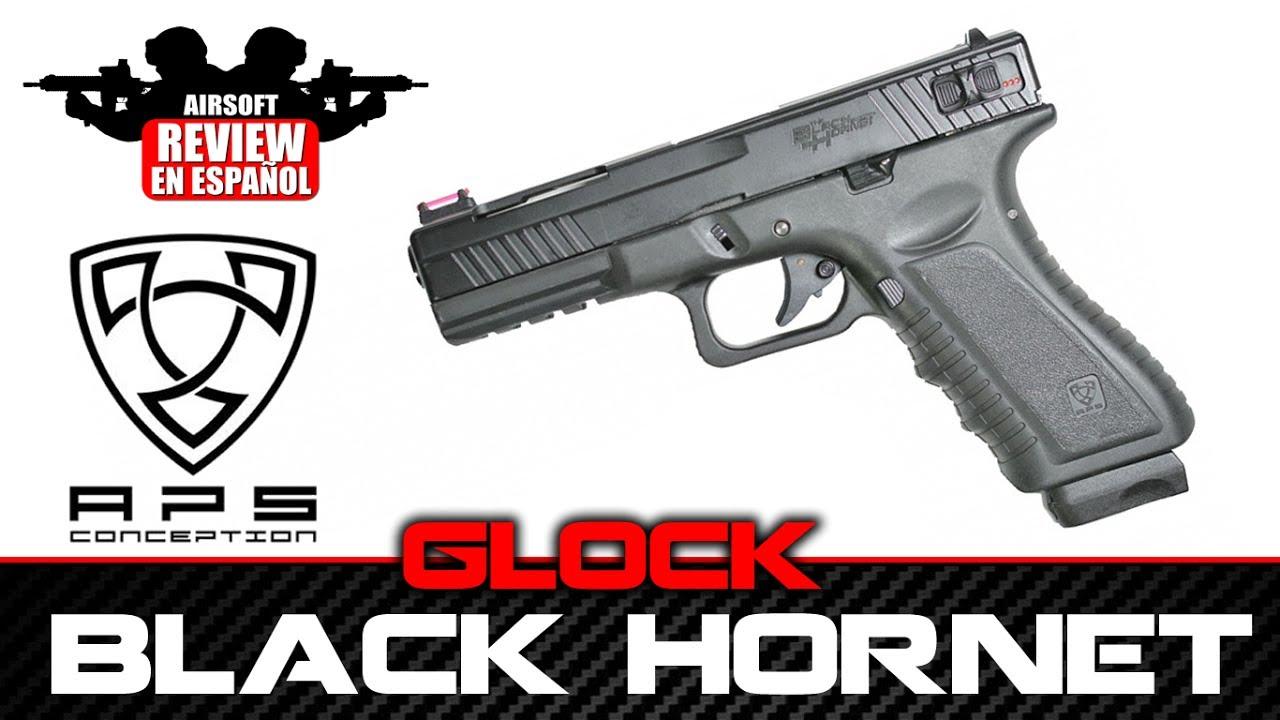 BLACK HORNET GLOCK APS ACP 602 Airsoft Review en Español ( Test Shot ...