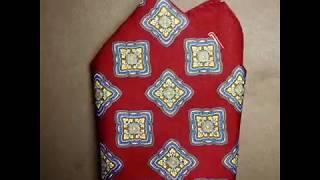 Нагрудный платок для пиджака из шелка бордовый с рисунком в магазине Otokodesign.com
