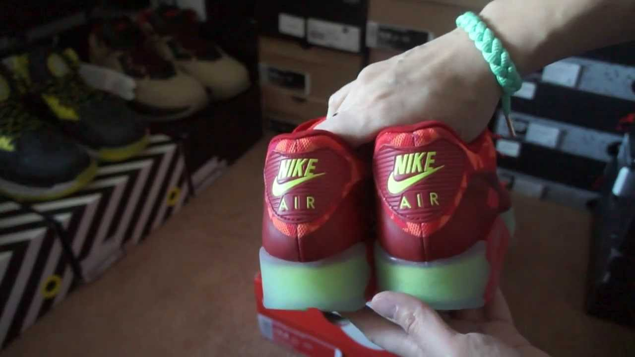 outlet store ac292 9841f Nike Air Max 90 Ice Gym Red Unboxing and Review Finishline - YouTube