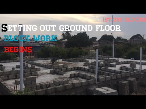 Building a House In Ghana   Episode 14   Setting Out Block Work on a Foundation (Superstructure)