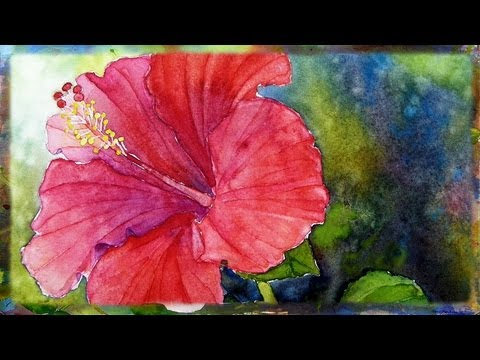 How To Paint the Red Hibiscus  In Watercolor By Ross Barbera Part 2