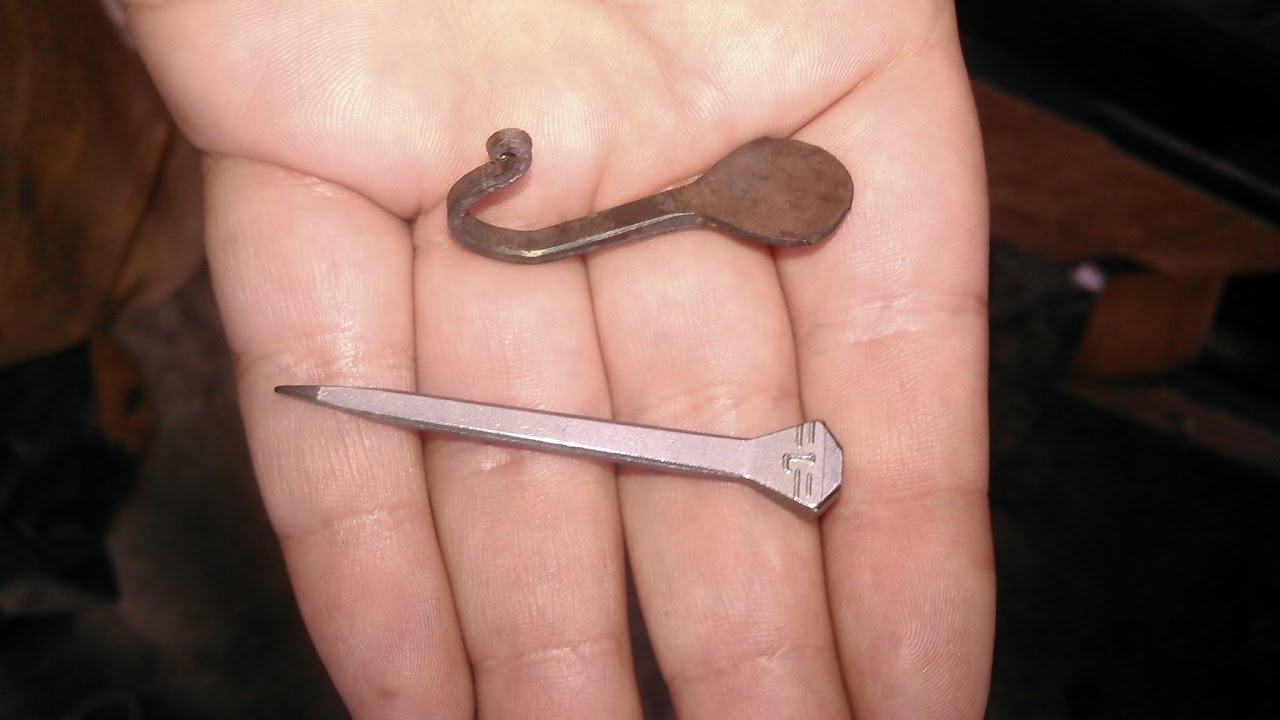 Forging A Key Hook From A Horseshoe Nail Youtube