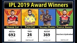 IPL 2019 Award Winners: MVP, Orange Cap, Purple Cap, Fairplay and other award winners