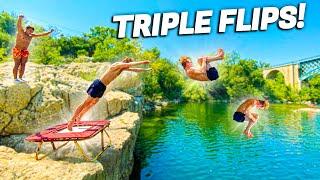 CRAZY TRAMPOLINE VS WATER FLIPS! *TRIPLE FRONTFLIP*