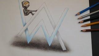 Speed drawing - Alan Walker - logo + tiny chibi Walker