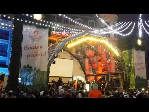 Bucharest Christmas market lights on