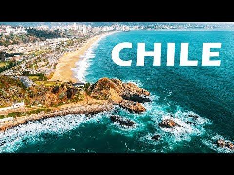 CHILE - Santiago. Valparaiso. Valle Nevado. Vina Del Mar. DJI Phantom 4 Drone Aerial Footage 4k.