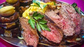 стейк филе миньон с гарниром из ягненка