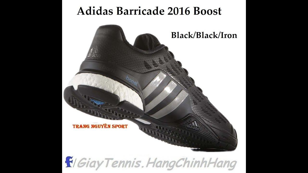 adidas barricade 2016 boost black men's shoe