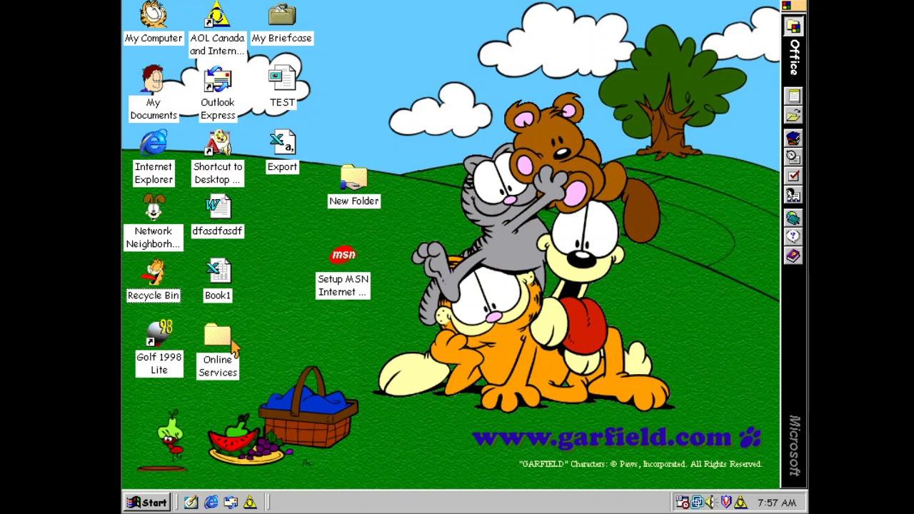 Windows 98 Plus Theme Garfield Youtube
