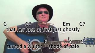 A Whiter Shade Of Pale - easy chords guitar lesson - on-screen chords  lyrics (guitar/mouth organ)