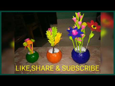 NEWSPAPER FLOWER VASE MAKING // DIY FLOWER VASE MAKING // EASY FLOWER VASE MAKING AT HOME //