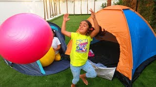 Esma with Asya is camping in the garden