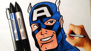 captain america draw marvel easy drawing war civil comics facedrawer