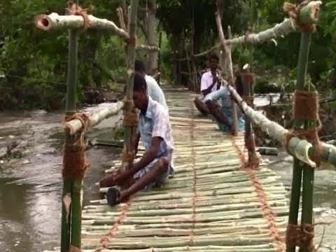 Villagers built Bamboo Bridge near Gudiyatham for crossing the river
