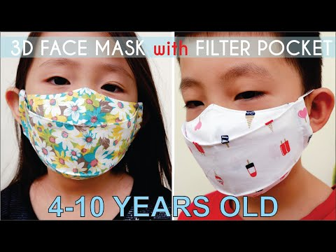 NO PATTERN 3D Face Mask With Filter Pocket For Kids | DIY Child's 3D Face Mask