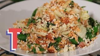 Tasty Raw Cauliflower Couscous Salad With Green Veg | Yum In The Sun
