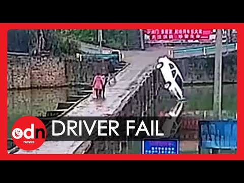 Chinese Driver Swerves into River Moments After Passing Test